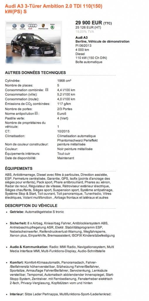 Annonce Audi A3 mobile.de