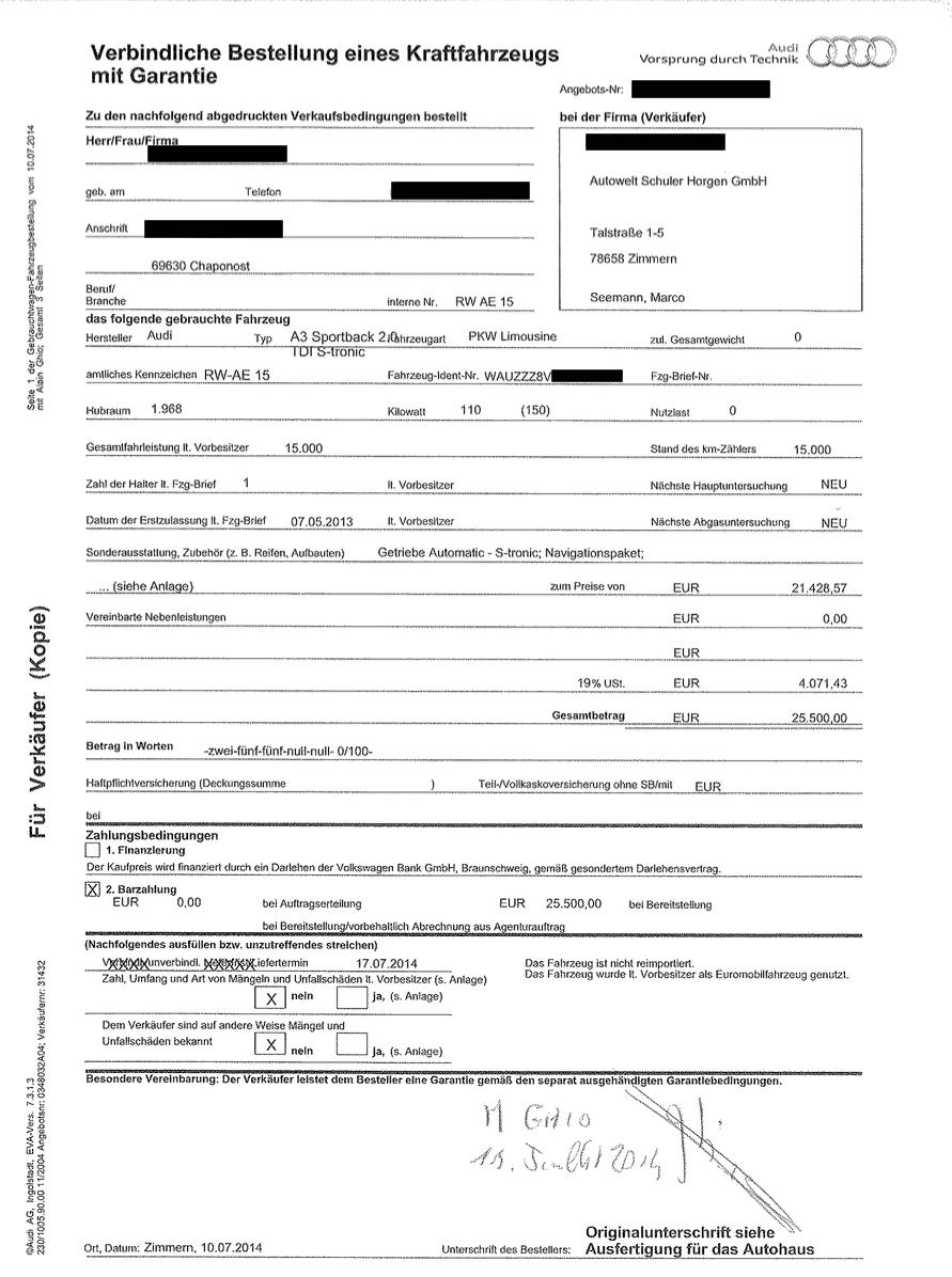 contrat Audi Allemagne