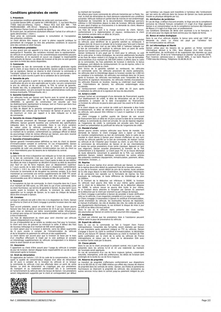 Conditions générales de vente de Qarson