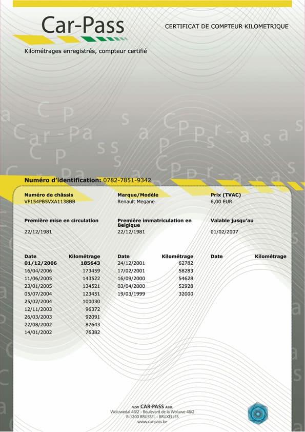 exemple d'un car-pass, certifiant le compteur kilométrique d'un véhicule d'occasion