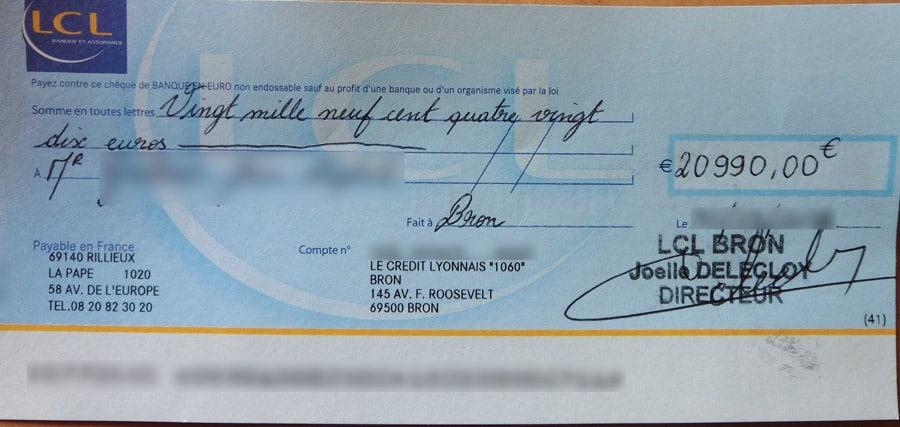 Exemple d'un vrai chèque de banque