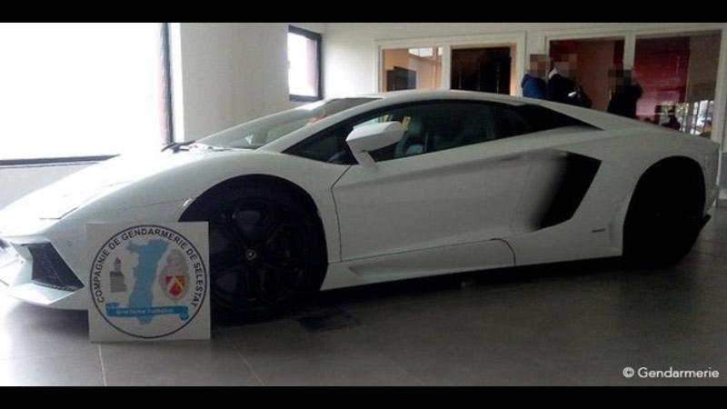 Lamborghini Aventador saisie par la gendarmerie de Sélestat