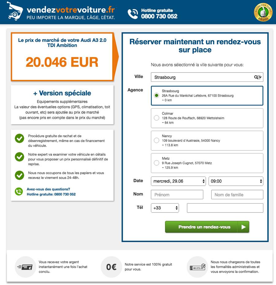 Estimation reprise avec VendezVotreVoiture.fr