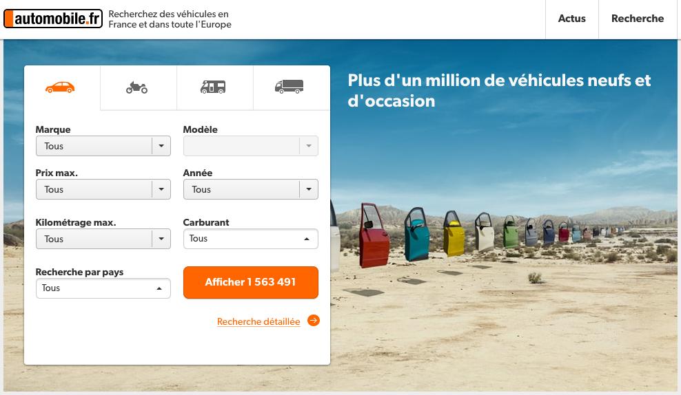 Page d'accueil recherche voiture sur Automobile.fr