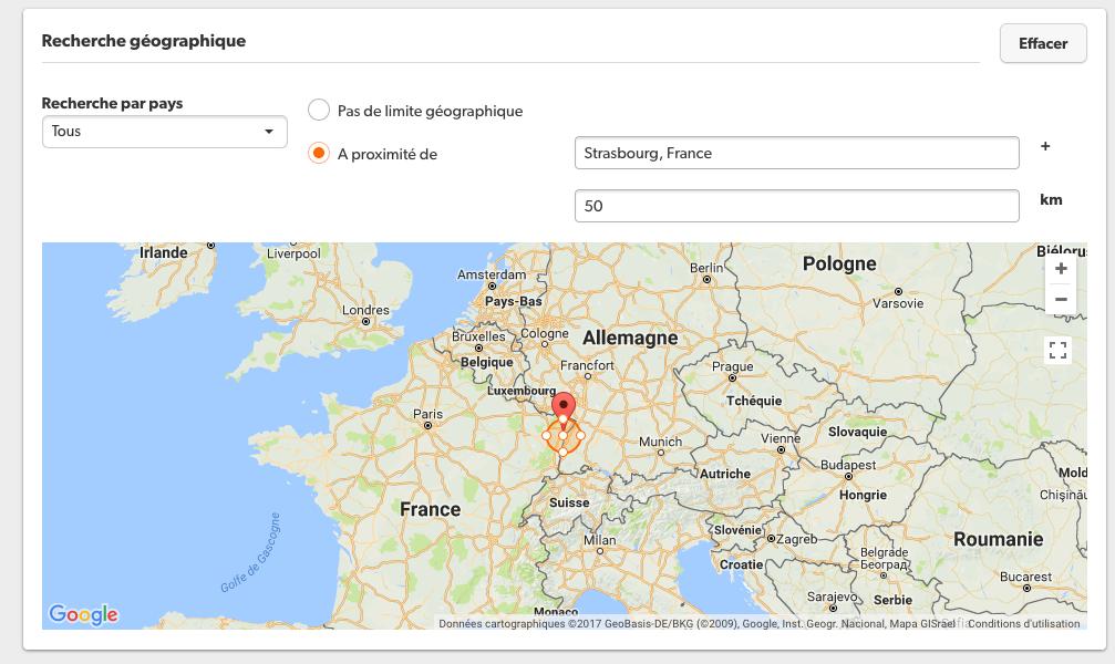 Cibler sa zone de recherche géographique sur le site